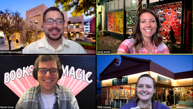Pub Lab team testing virtual backgrounds during a meeting